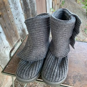 UGG Australia Knitted Grey Fold Over Boots